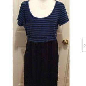 Torrid Dress 2X Blue Black Striped Top Solid Skirt